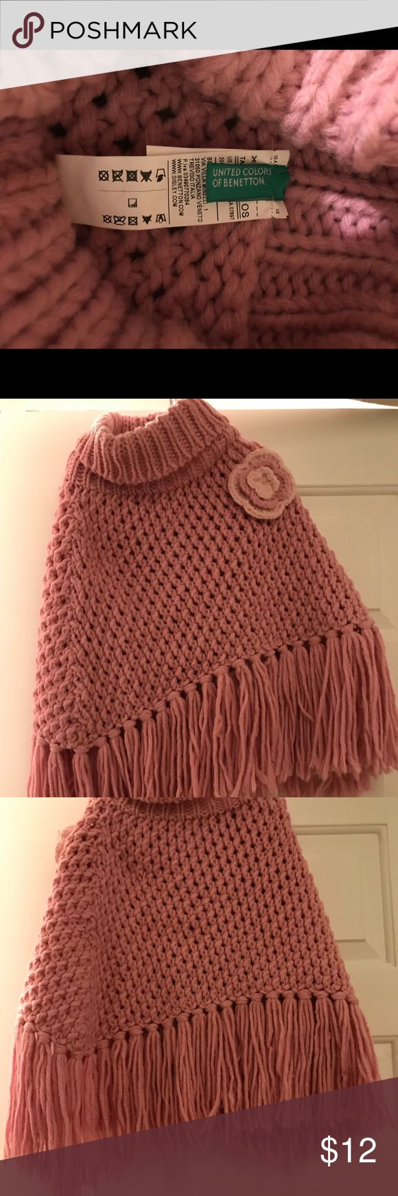 🧣Benetton knit poncho 🧣 Benetton Girls poncho knitted. Rose United Colors Of Benetton Other