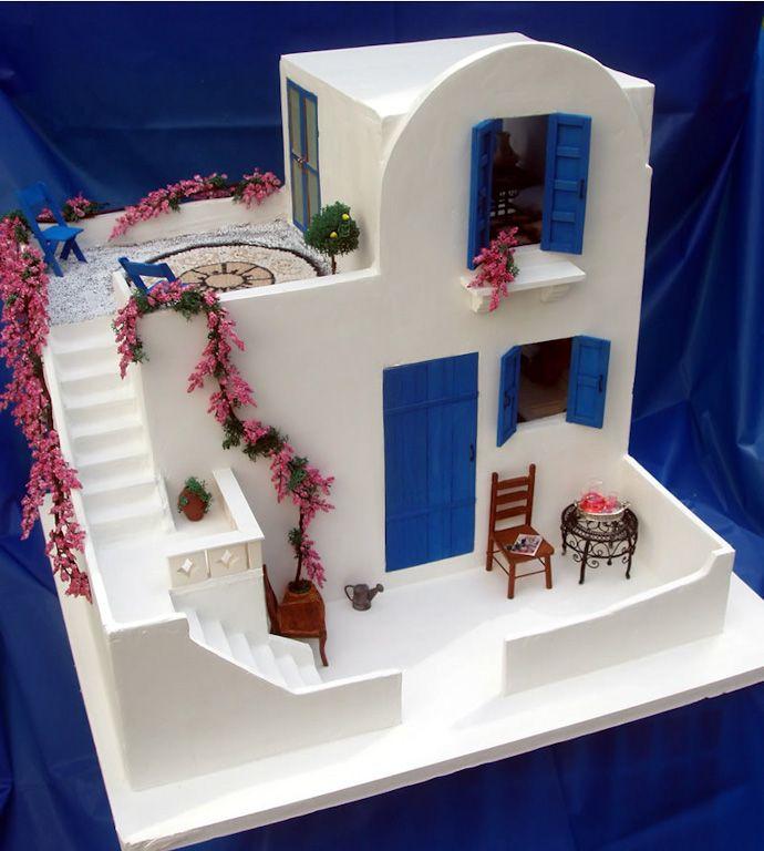 dollhouse. Casa típica de las Cícladas, las islas griegas del Egeo que forman anillo en torno a la isla de Delos.