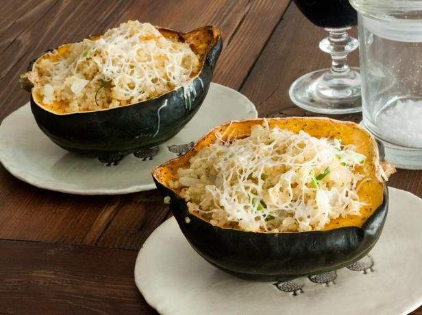 Stuffed Acorn Squash: Perfect for vegetarian guests. It looks gorgeous on the table! Recipe: http://www.hgtv.com/entertaining/quinoa-stuffed-acorn-squash-recipe/index.html?soc=pinterest