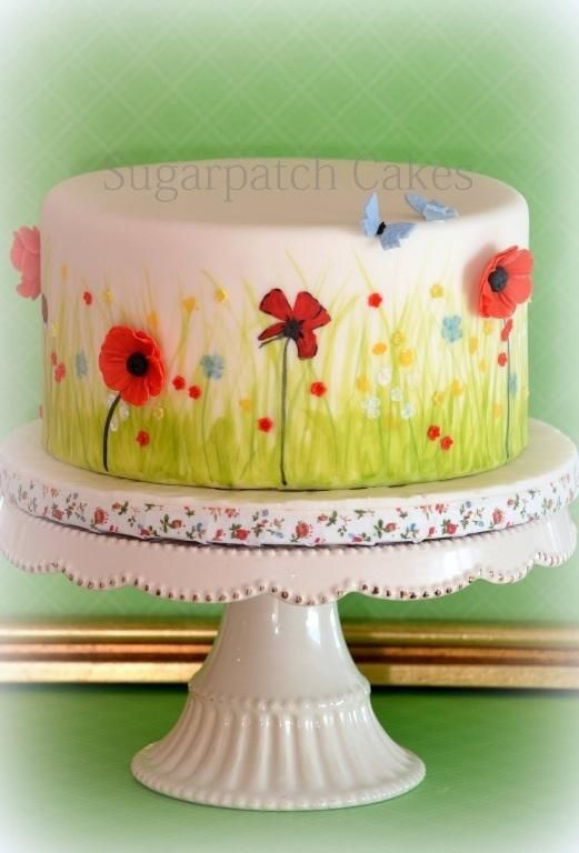 Meadow Hand painted meadow with 3d poppies and blossoms. Thanks for looking x Sugarpatch Cakes