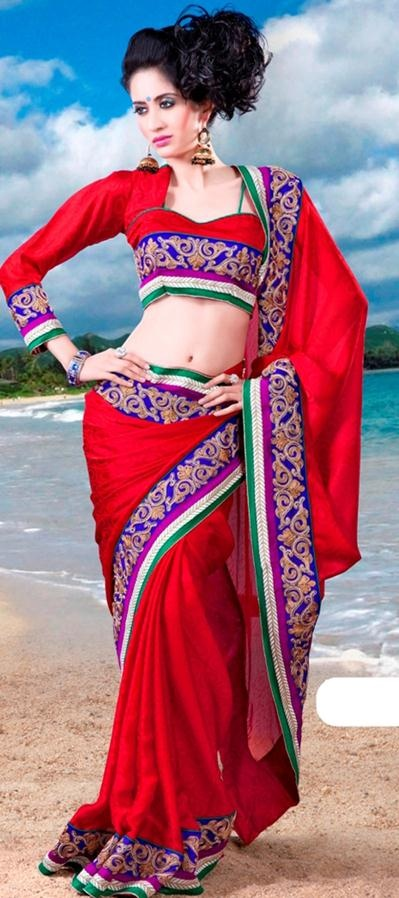 $73.98 Red Silk Saree 21486 With Unstitched Blouse