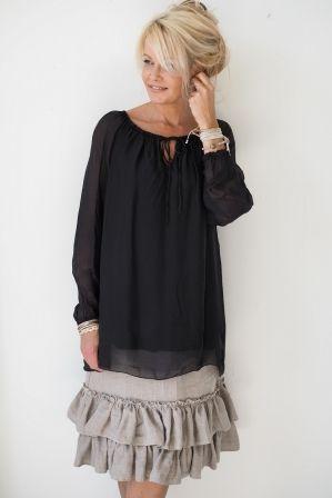 RAIN Silk blouse, Black