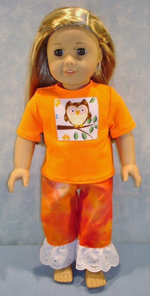 18 Inch Doll Clothes - Owl on Orange Pantsuit handmade by Jane Ellen