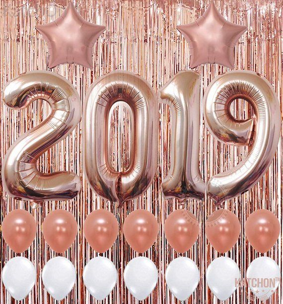 2019 Rose Gold Balloons Banner –| Star Mylar Foil and Latex Balloon, Metallic Rose Gold Fringe Curtain | Great for Graduations Decorations