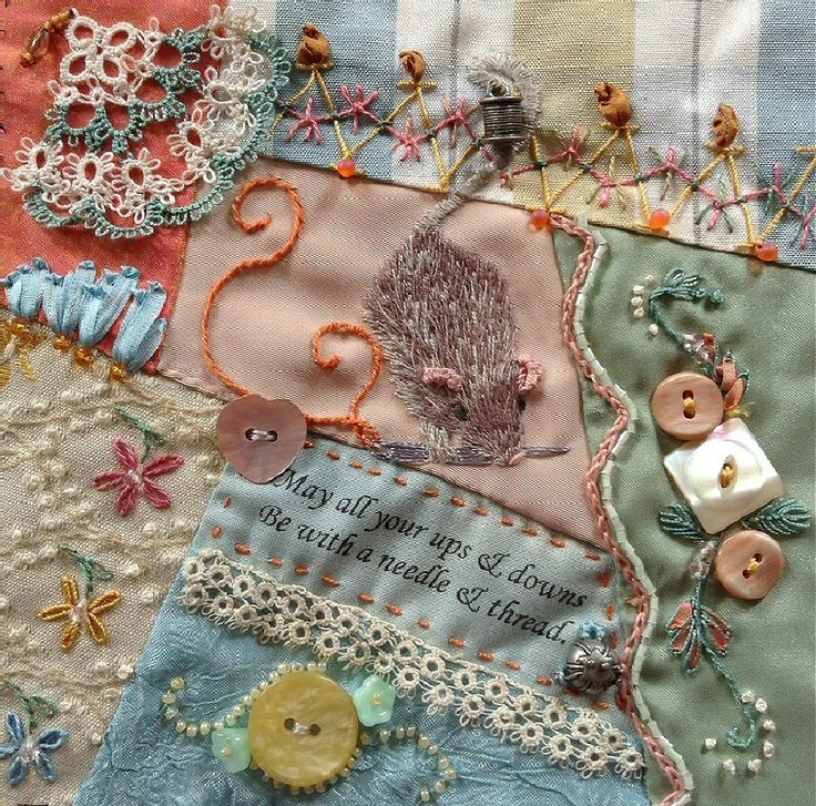 I ❤ crazy quilting, beading & ribbon embroidery . . CQI RR . Barbs Poem block (adore the mouse)~By Kristie