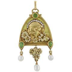 French Antique Gold Enamel, Diamond, Peridot and Plique-à-Jour Juliet Pendant