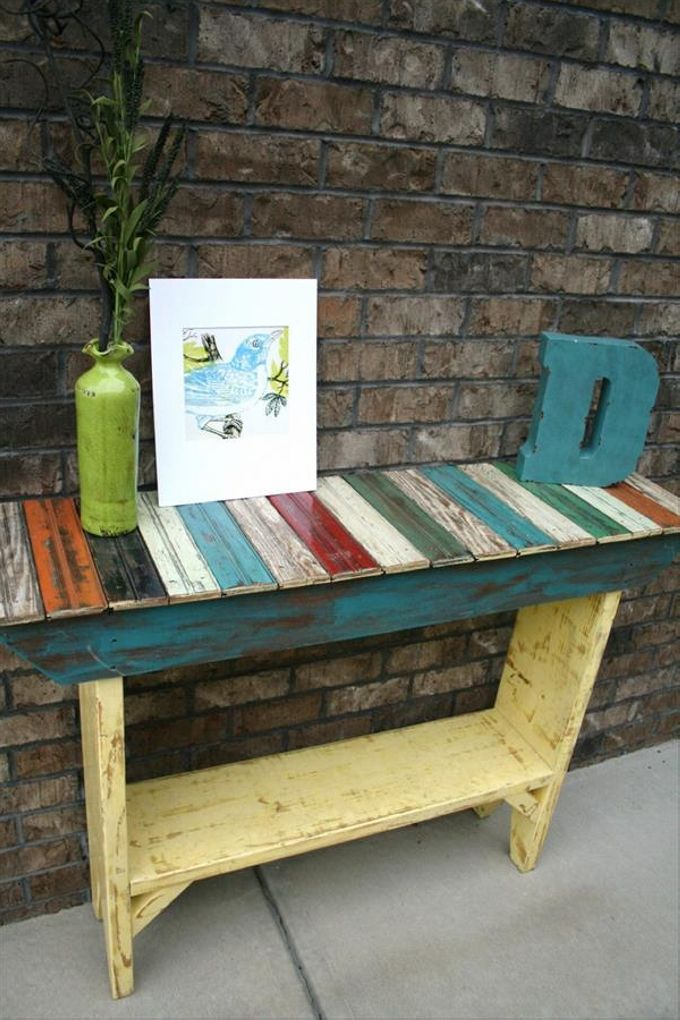 Plans for Repurposed Pallets This last one shipping pallet repurposed outdoor table is made with the intent to make it look like a pure artistic item. Now you can use it in a number of ways, place some decoration pieces on it, or just use it as a regular side table while having a cup of coffee.