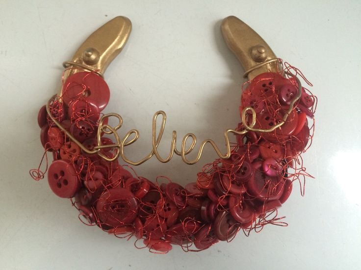 Horseshoe Decor ~ BELIEVE ~ red and gold  Valentine's Day gift, wall art turquoise teal beaded decorative horse keepsake by TheStitchingHorse on Etsy https://www.etsy.com/listing/265904200/horseshoe-decor-believe-red-and-gold