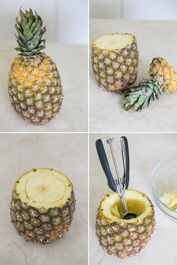 Make a pineapple cup with a knife and an ice cream scoop. How to found here http://sugarandcharm.com/2014/05/toasted-coconut-pineapple-cocktail-pineapple-cup.html/