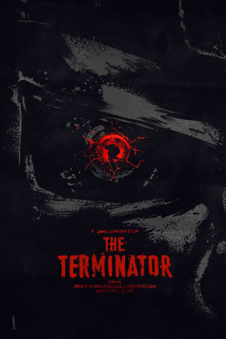The Terminator (1984) - A human-looking indestructible cyborg is sent from 2029 to 1984 to assassinate a waitress, whose unborn son will lead humanity in a war against the machines, while a soldier from that war is sent to protect her at all costs. Artwork by Daniel Norris