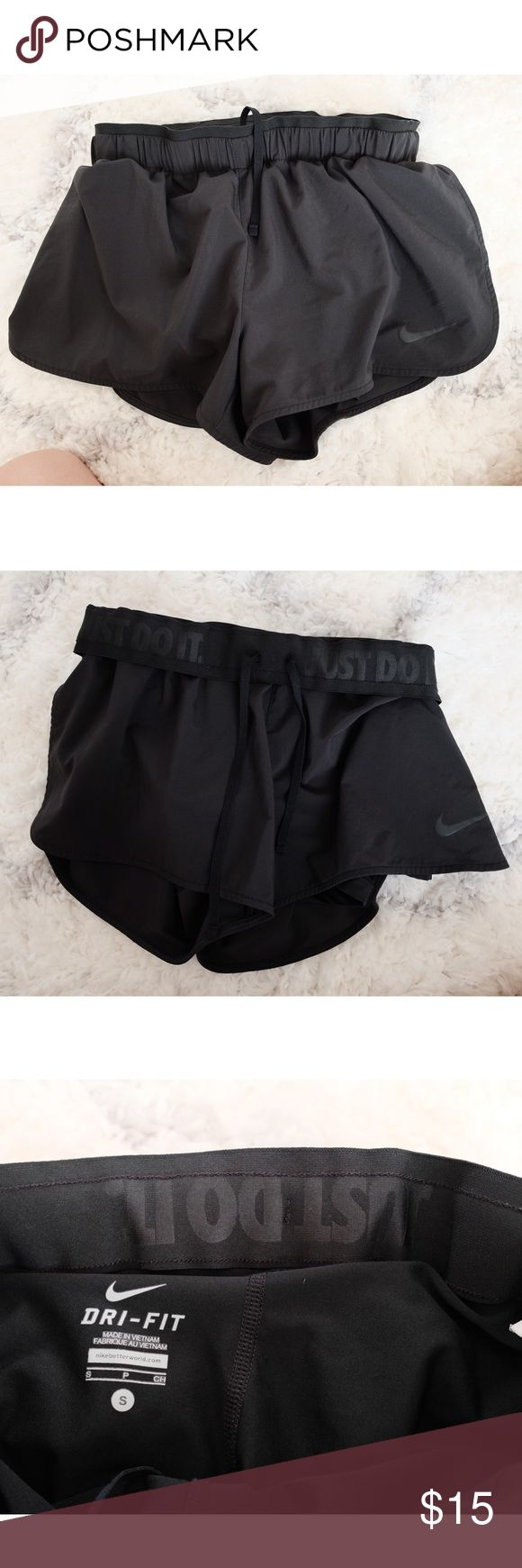 Black Nike shorts with built in bloomers Black Nike shorts. Dry fit material. Bloomers built in. Worn once. Size small. Nike Shorts