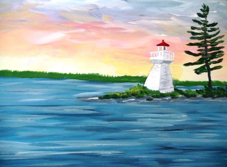 Muskoka Bay Lighthouse in Acrylic Paint by Nancy Hunter Muskoka Artist