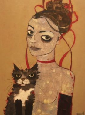 Her With The Cat, 2016 Acrylic on Board 15 7/10 × 11 4/5 in 40 × 30 cm