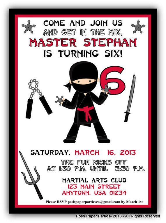 Ninja Birthday Party Invitation  by PoshPaperPartiesCo on Etsy, $12.00