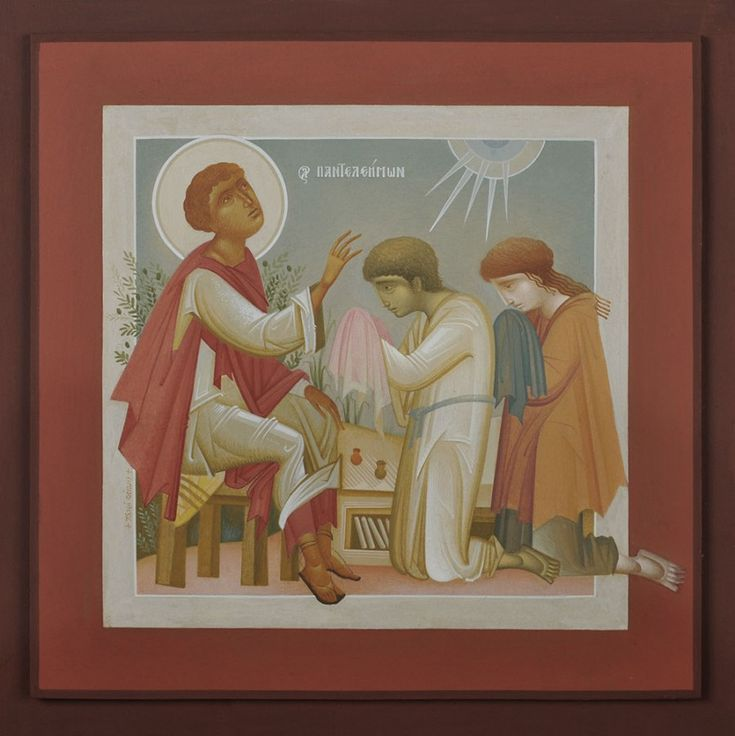 St. Pantaleimon Blessing Youth, by Fikos, 2010. Egg tempera on handmade Japanese…