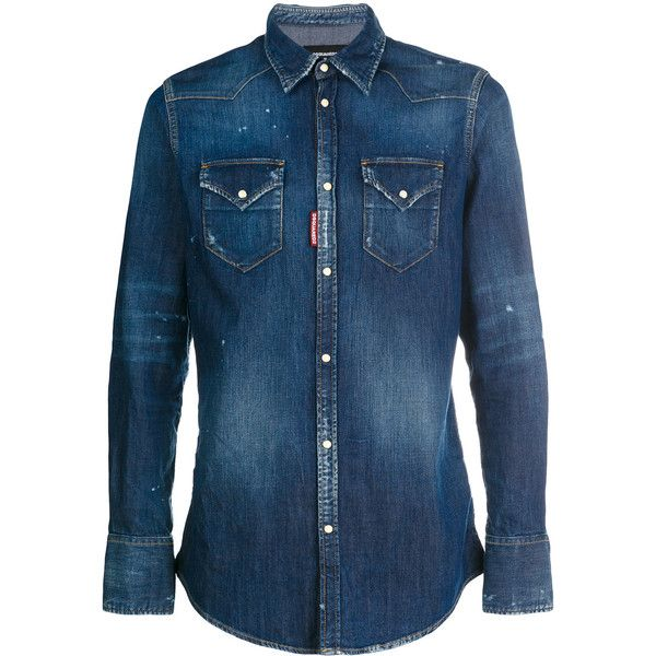 Dsquared2 washed effect denim shirt ($595) ❤ liked on Polyvore featuring men's fashion, men's clothing, men's shirts, men's casual shirts, blue, mens blue shirt, mens denim shirt, mens extra long sleeve shirts and mens button front shirts