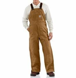 "Carhartt Size 46"" X 34"" Carhartt Brown Cotton/Duck Flame-Resistant Bib Overalls With Insulated Lining - Zipper Closure - Ankle-To-Thigh Brass Leg Zippers With Nomex Fr Zipper Tape - Protective Flaps With Arc-Resistant Snap Closures"