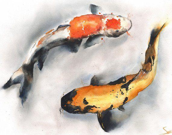 Koi Fish Peinture Aquarelle Originale Koi Aquarelle Oeuvre De