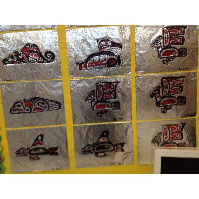 First Nation Art student sample - Tin foil, red and black pen