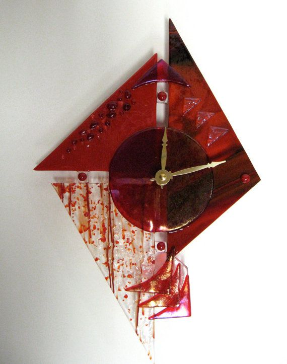 Fused Glass Art Clock by Incolorgallery on Etsy
