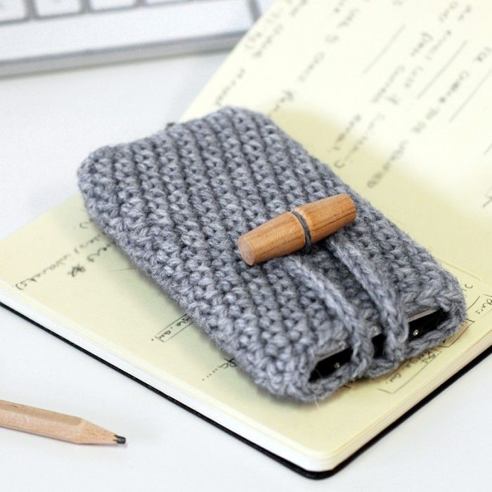 Grey knitted iPhone case