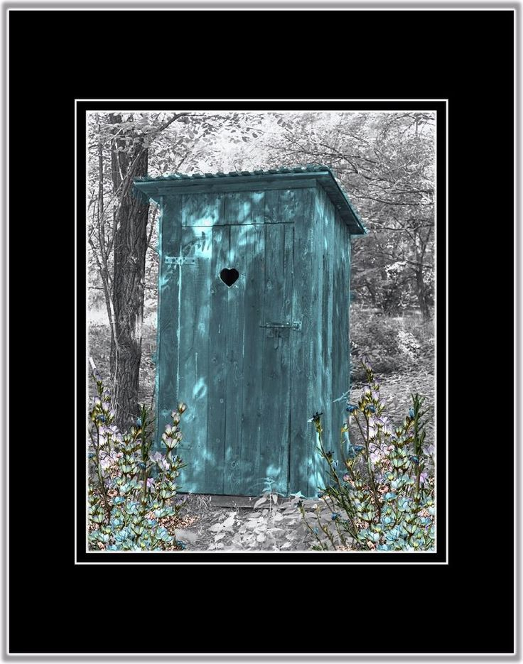 Teal Gray Outhouse Privy Photo Art Wall Decor Country Bathroom Picture Matted   | Home & Garden, Home Décor, Posters & Prints | eBay!