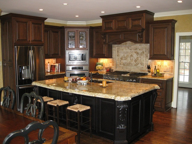 Black And Brown Kitchen With Mahogany Floor And Yellow