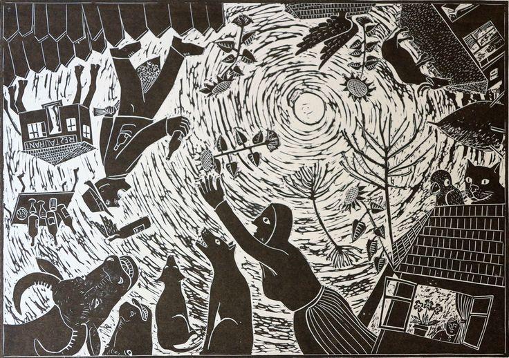 intoarcerea de la crasma.linogravura 42X30 cm