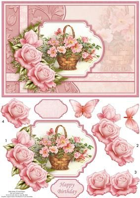 PINK ROSE BASKET Card Topper Decoupage on Craftsuprint designed by Janet Briggs - Floral card topper with 3d step by step decoupage.Features a vintage painting of a floral basket, with rose and butterfly decoupage.2 sentiment tags, one blank and Happy Birthday.
