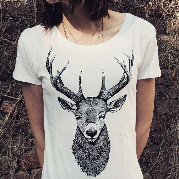 DEER t shirt, woman shirt with deer bust print. Screenprinted handmade design. White,cotton. Gift for her. Ladies streetwear. animal print