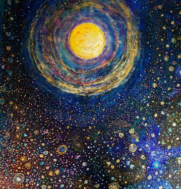 "Saatchi Art Artist: Tracy Oliver; Acrylic 2013 Painting ""Rainbow Moon"""