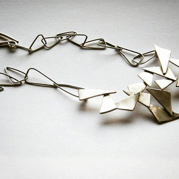 Shattered 02. sterling silver statement necklace brushed