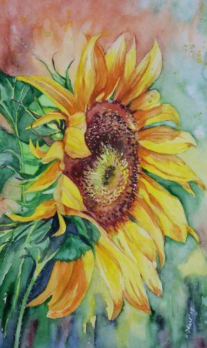 Original-Aquarell-Sonnenblume-24x32-cm