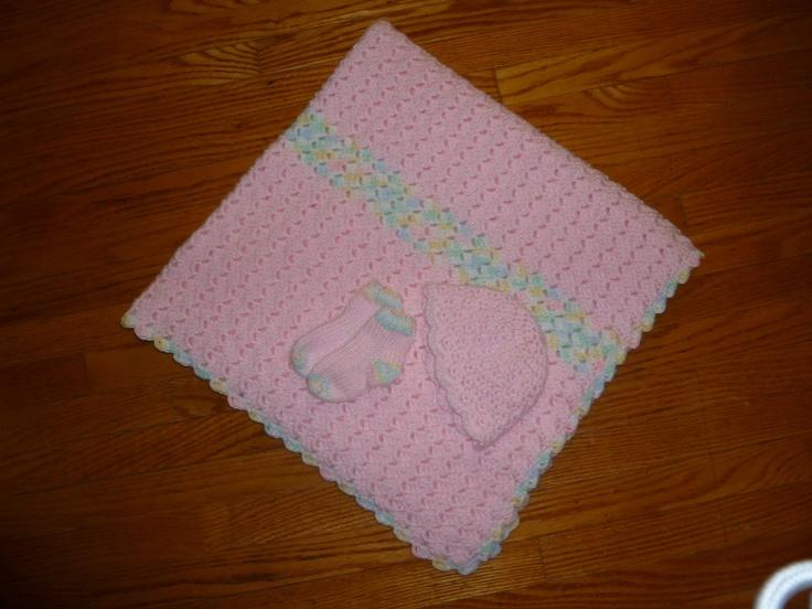 baby blanket, hat and socks