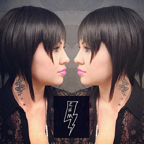 23-Short Hairstyle with Long Bangs