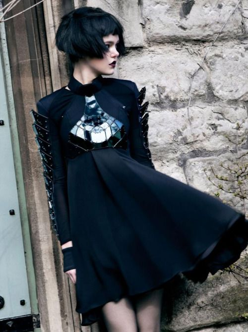 """fragileferal: """" asylum-art: """" Erevos Aether – Wake the Serpent Not Erevos Aether's AW 2014-15 collection, Wake the Serpent Not, contrasts sheer, romantic, fragile textures with armorlike iridescent leather and metallic elements. The architectural..."""