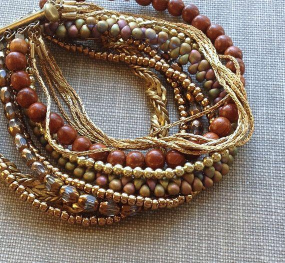 multi strand vintage chain and bead bracelet // boho bracelet // chunky beaded bracelet // earth toned bracelet // wide cuff bracelet
