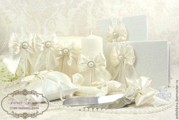 """Купить Коллекция свадебных аксессуаров """"Сливочный зефир"""" - белый, молочный, свадебные аксессуары, аксессуары для свадьбы"""