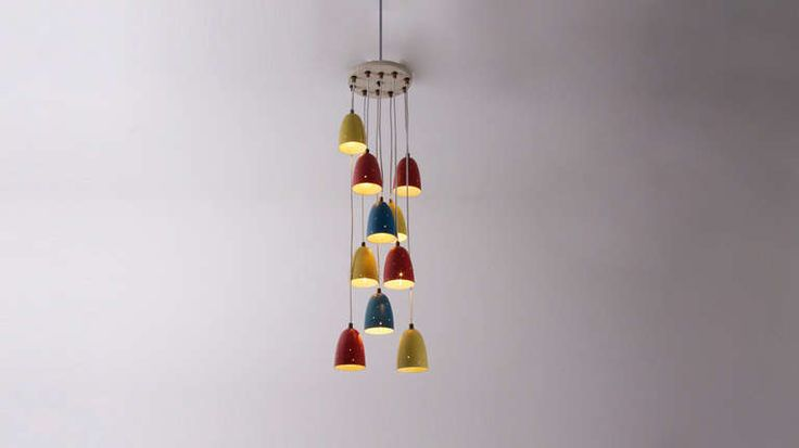 Multicoloured 1950s Pendant Lamp with Aluminium Shades | From a unique collection of antique and modern chandeliers and pendants  at https://www.1stdibs.com/furniture/lighting/chandeliers-pendant-lights/
