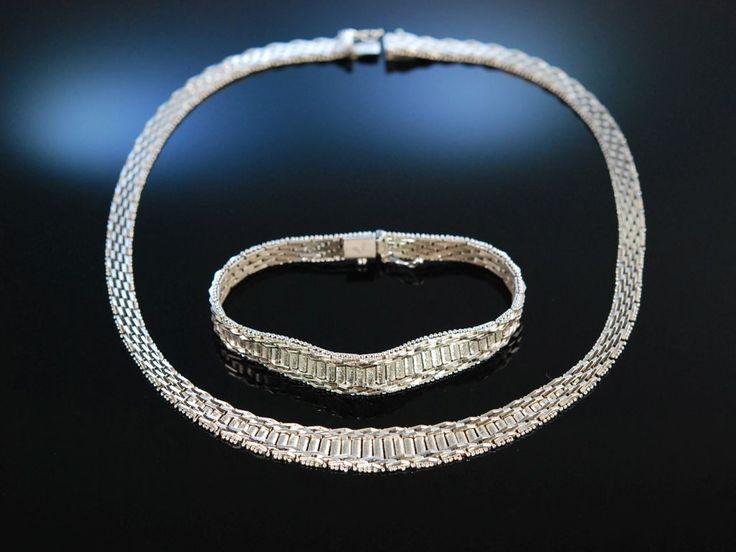 Vintage silver necklace and bracelet! Um 1955! Massive Statement Kette und Armband Silber 835, feiner Vinatage Schmuck bei Die Halsbandaffaire