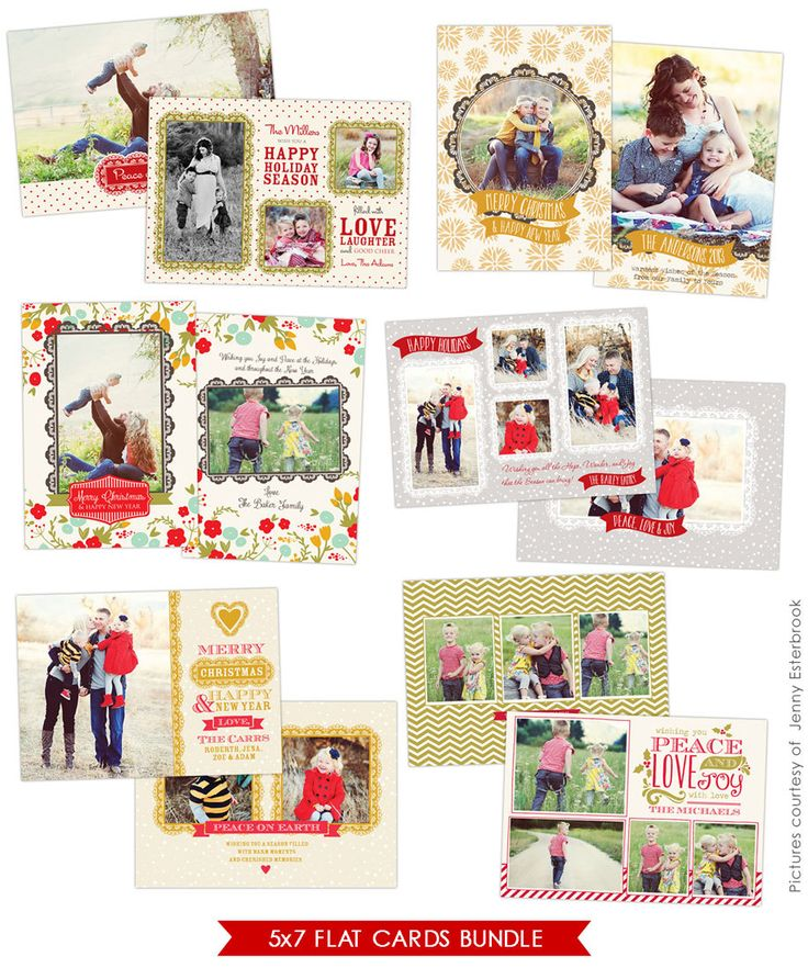 PSD Christmas Photo card template Chic Greetings por birdesign