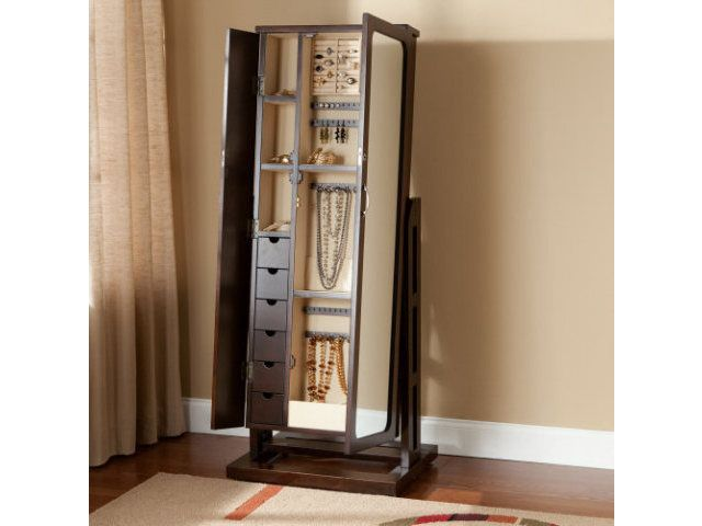 Fresh Mirrored Jewelry Cabinet Armoire with Stand