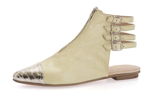 Boots SALE 35% OFF Flat Strappy Ankle Boots by ImeldaShoes