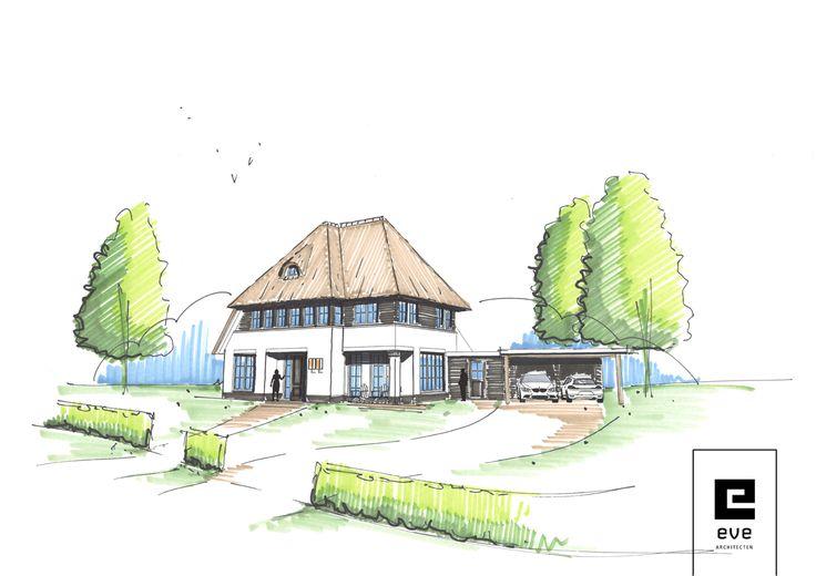 inspiratie schets rietgedekte villa_EVE Architecten