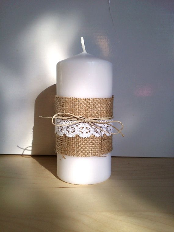 Burlap Candle with Burlap Lace and Twine for Decor by woodandsea, €6.00