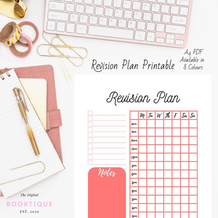 Revision Plan Printable, Planner, Student, Revision