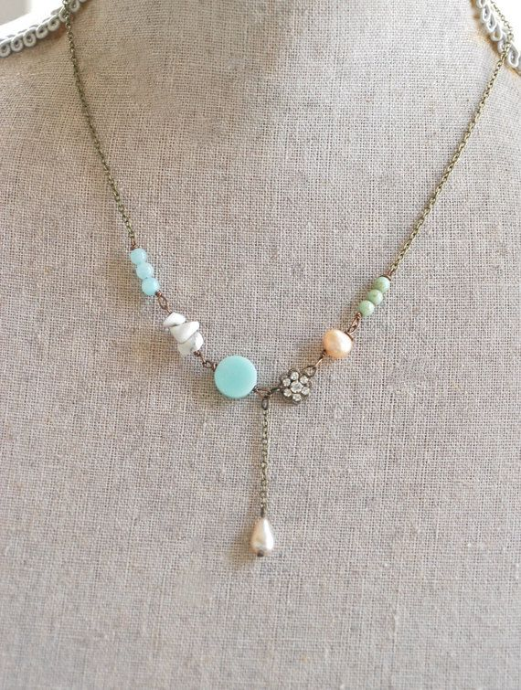 Summer romance. romantic bohemian rhinestone gemstone beaded necklace. Tiedupmemories