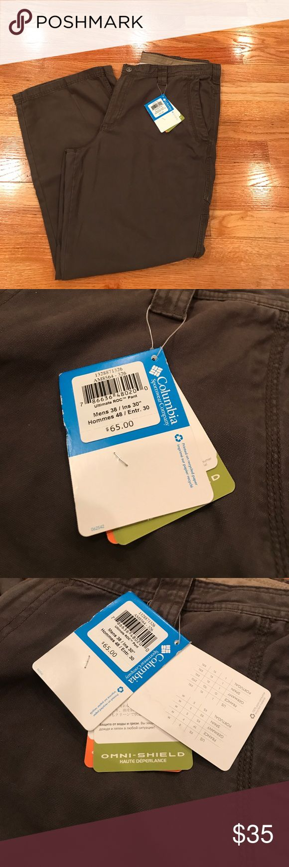 Men's Columbia Sportswear Ultimate Roc Pant Columbia Omni Shield Advanced Repellency  Ultimate Roc Pant  Modern Classic Easy Fit Through Waist and Hip Sits at a natural waist Retail $65 Columbia Pants