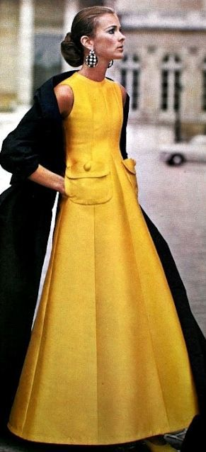 An eye-catching saffron hued Jean Patou evening dress, 1969. #vintage #1960s #fashion