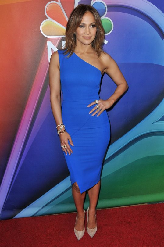 Splurge: Jennifer Lopez's NBC TCA Shades of Blue Press Top Victoria Beckham One Shoulder Blue Dress and Casadei Blade Pumps